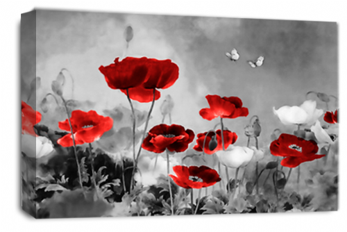 CHINESE FLORAL FLOWER RED GREY PICTURE 30 x 20